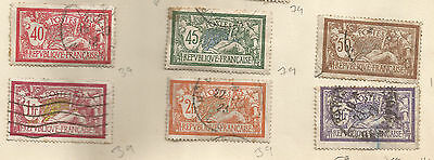 FRANCE;lot of 1900 early classic  issue 6 stamps used, shades, postmarks