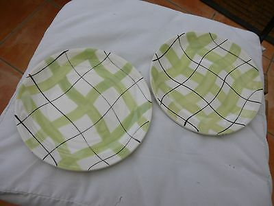 """2 Empire """"Harlequinade"""" green 7.5 inch/19cm side plates"""