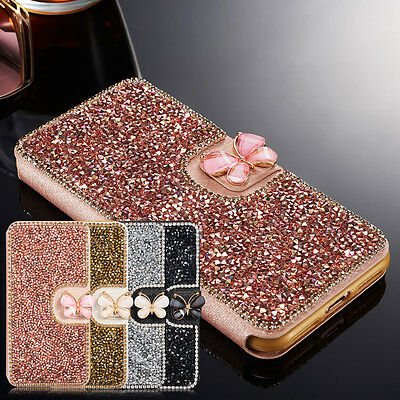 Luxury Crystal Bling Diamond Flip Leather Case Wallet Cover For iPhone 6s 7 Xs 8