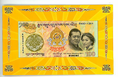 Bhutan ... 100 Ngultrum ... (2011) ... *unc*...¡commemorating The Royal Wedding!