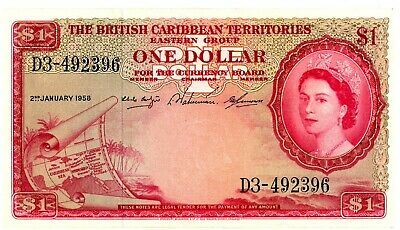 British Caribbean Territories ... P-7c ... 1 Dollar ... 1958 ... *XF*