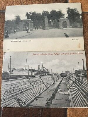 Collectible Postcards - Ormeau Park, Alexandra Graving Dock With Atlantic Liners