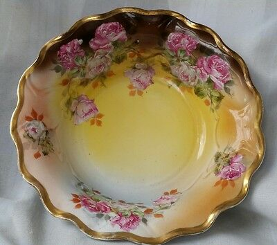 Antique St.killian Hand Painted Large  Bowl Roses And Gold  Germany 11""