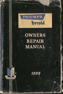 Triumph Herald 1200 Saloon Coupe Convertible Estate Owners Repair Manual 1962