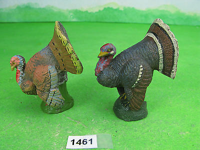 vintage elastolin composition turkeys x2 german farm toys 1461