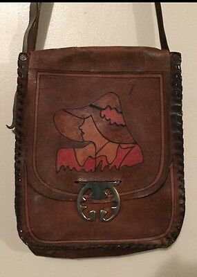 Vintage Tooled Leather Bag - Hand Painted Lady - One Off