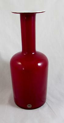 Cherry Red & Opal Encased Otto Brauer Holmegaard Carnaby Gul Vase 30cms Superb