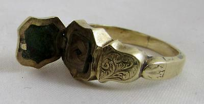 FINE RARE 18CT GOLD MEMENTO LOCKET RING WITH MOURNING HAIR 1800s SCOTTISH! AGATE