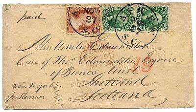 U.S.A. 1856 cover with 3c and 2x10c issues from South Carolina to Unst, Shetland