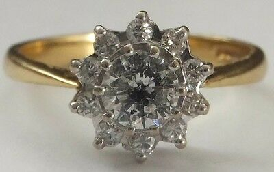 Vintage Diamond Daisy Ring 18ct Gold 0.80ct Brilliant Cut Cluster