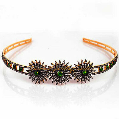 Vintage 10.88ct Rose Cut Diamond Sterling Silver Emerald Crown Hair Band Jewelry