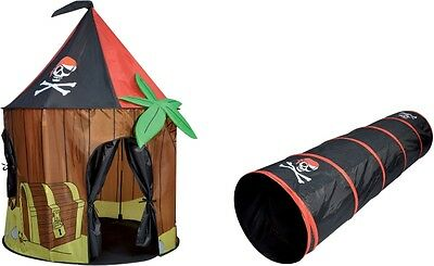 Childs Playhouse Girl Boy Pirate Cabin Tent Kids Pop Up Tent House Tunnel