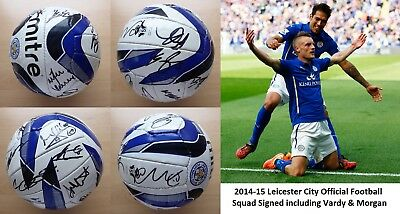 2014-15 Leicester City Official Football Signed by Squad inc Vardy Morgan (9507)