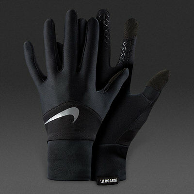 NEW Nike Mens Dri-Fit Running Run Gloves - Black & Silver