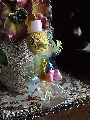 Vintage Easter Duck Candy Container Cocoa Fiber Pick Head Cellophane Ribbon