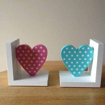 Great Little Trading Company Girls Wooden Polka Dot Heart Bookends,Brand New.
