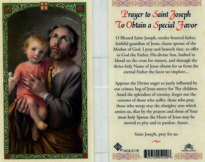 Prayer to Saint Joseph To Obtain a Special Favor Holy Card HC9-217E