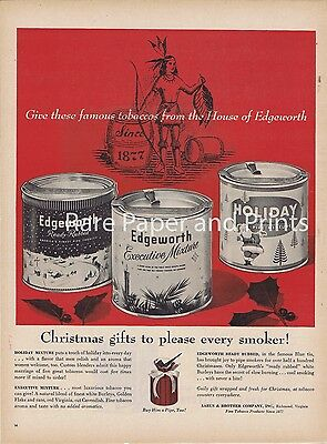 1958 Edgeworth Pipe Tobacco Vintage Illustrated Original Print Ad