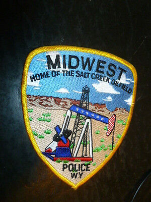 Derrick Wyoming Police Patch Midwest Home Of The Salt Creek Oil Field
