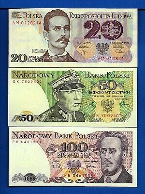 Poland P-142,143,149 Years 1975-1988 Uncirculated Banknote Set # 5