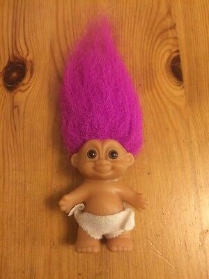 "Vintage Russ Baby Troll With Pink Hair 3"" Approx"