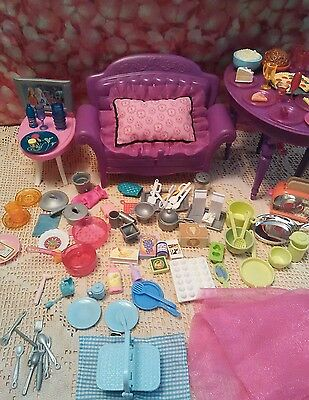 BARBIE DreamHouse DOLLHOUSE KITCHEN purple Couch TABLE Furniture Food  Huge Lot