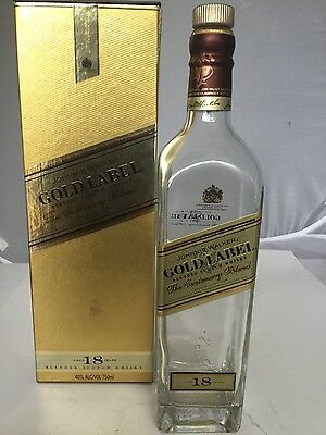 Johnnie Walker 18  Gold Label empty bottle with box