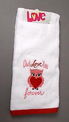 "Owl Lovers! ""owl Love You Forever"" Valentine's Day Decorated Hand Towel New"