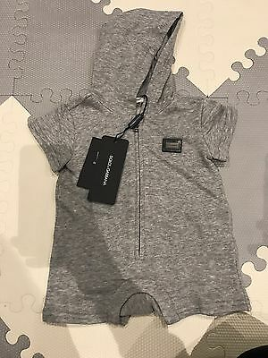 Dolce & Gabbana Baby Grey Plaque Hooded Playsuit Tracksuit 3-6 Months BNWT