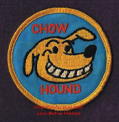 LMH PATCH Badge CHOW HOUND Smile Teeth Chowhound Yellow Dog on Blue Aqua used 3""