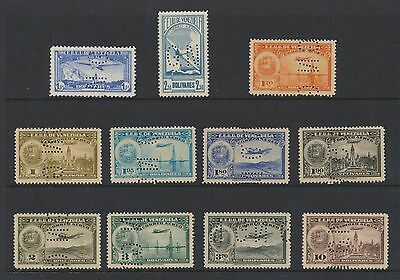 Venezuela 11 diff 1937-9 airmails w/ G N perfin Official unused VF NH