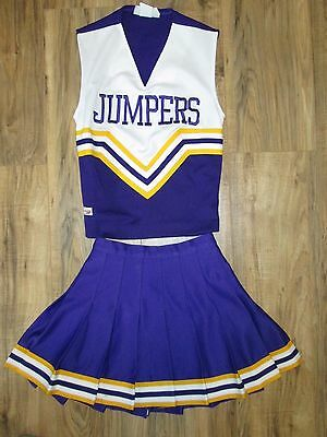 """REAL Cheerleader Uniform Outfit Costume JUMPERS Purple Gold 32"""" Chest 23 Waist"""
