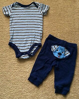Okie Dokie Baby Boy Blue/White Striped Outfit, Bodysuit & Pants, Size 3-6 Months