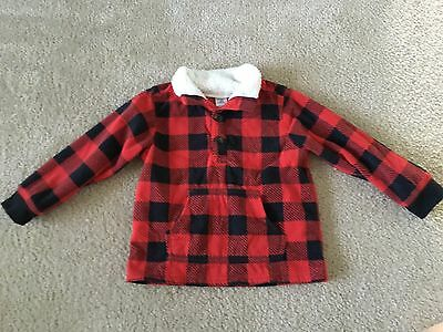 Carter's Boy's Red/Black Checked Fleece Jacket, Fluffy Collar, SO SOFT!, Size 3T