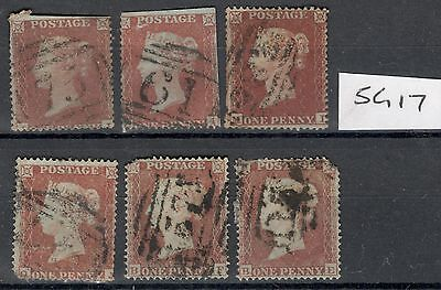Queen Victoria - SG 17 - 1d Red - Small Crown - All with Perf Defects