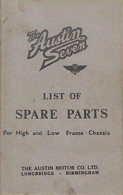 Austin 7 Seven High & Low Frame Chassis '35 Illustrated Factory Parts List Repro