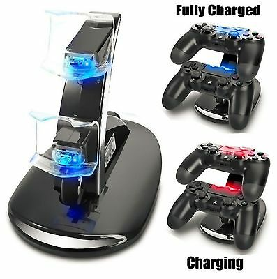 Dual USB Caricabatterie Charger Supporto Dock Di Ricarica Per Controller PS4 NEW