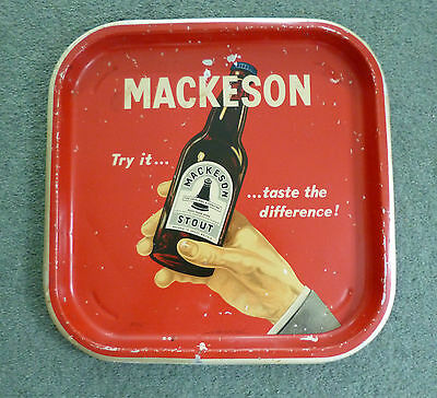 Vintage Very Rare Mackeson Stout Square Metal Tray Red With Bottle & Hand Image