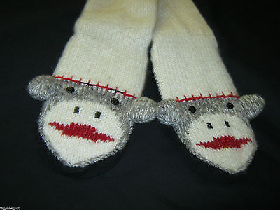 New AMAZING All Wool MONKEY SLIPPERS Faux Suede Bottoms  Bottom is 10X4 inches