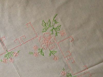 """NWOT Hand Embroidered LINEN TABLECLOTH Floral green & pink on ecru 50x49"""""""