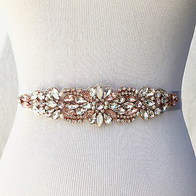 BLOSSOM Blush and Clear Rhinestone Pearls Opals Crystal Diamante Bridal Sash