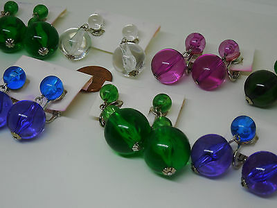 Vintage lot new old stock 7 prs 60s lucite ball dangle colors CLIP earrings JY5