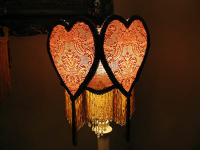"""Victorian French Med Hearts Lamp Shade """"Rose"""" Fringe Beads Look!!"""