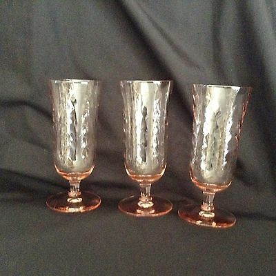 "3 PINK DEPRESSION Stemmed Parfait GLASSES 6 1/2"" EXCELLENT  COND. oh so pretty!"
