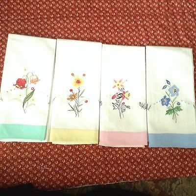 """4  NWT GUEST TOWELS Machine embroidered floral COTTON 22x14"""" FINGER TIP TOWELS"""