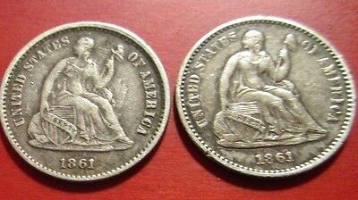 1861 Liberty Seated Half Dime Legend 5 from 1860-1867 are considered rare