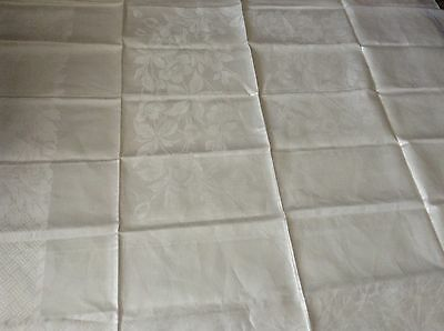 """Lovely UNUSED Double Damask IRISH LINEN TABLECLOTH Flowers 55x54"""" WHITE"""