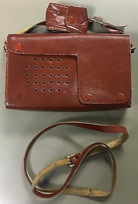 Vintage Crown Genuine Top Grain Calf Skin Leather Transistor Portable Radio Case