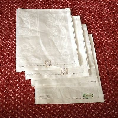 "Vtg 4  NWT DOUBLE DAMASK IRISH LINEN NAPKINS 20x20"" OPENWORKED Millmark flower"