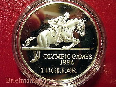 1996 Bermuda Large Silver  Proof $1 Olympics Equestrian(Horse) Jumping